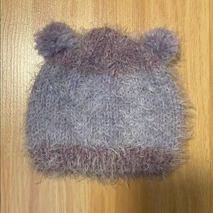 Hand Knit Violet Baby Hat with Pompom Ears